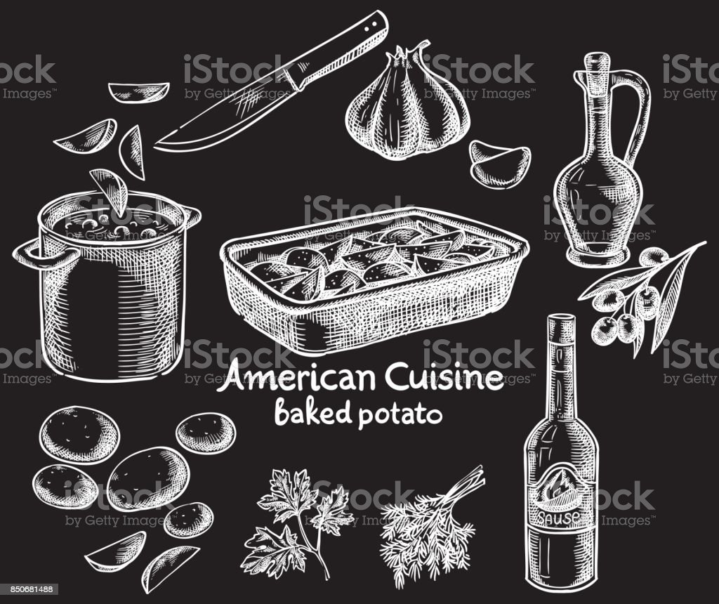 Baked potatoes and ingredients vector sketch vector art illustration