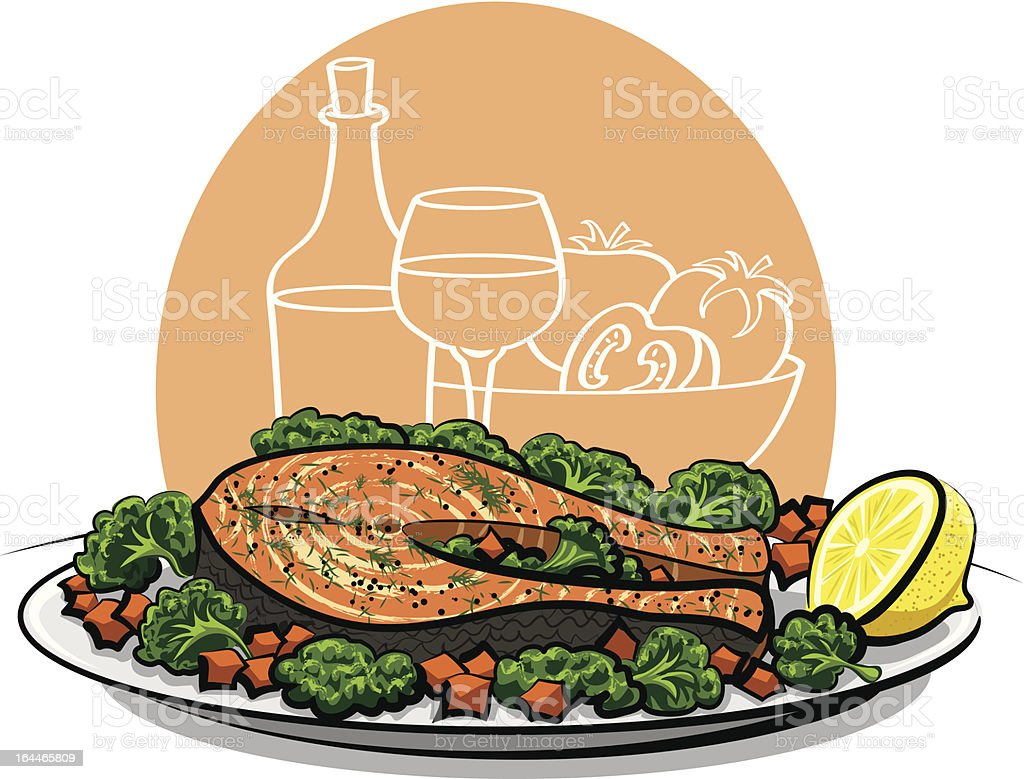 Baked Salmon Steak stock vector art 164465809 | iStock for cooked salmon clipart  35fsj