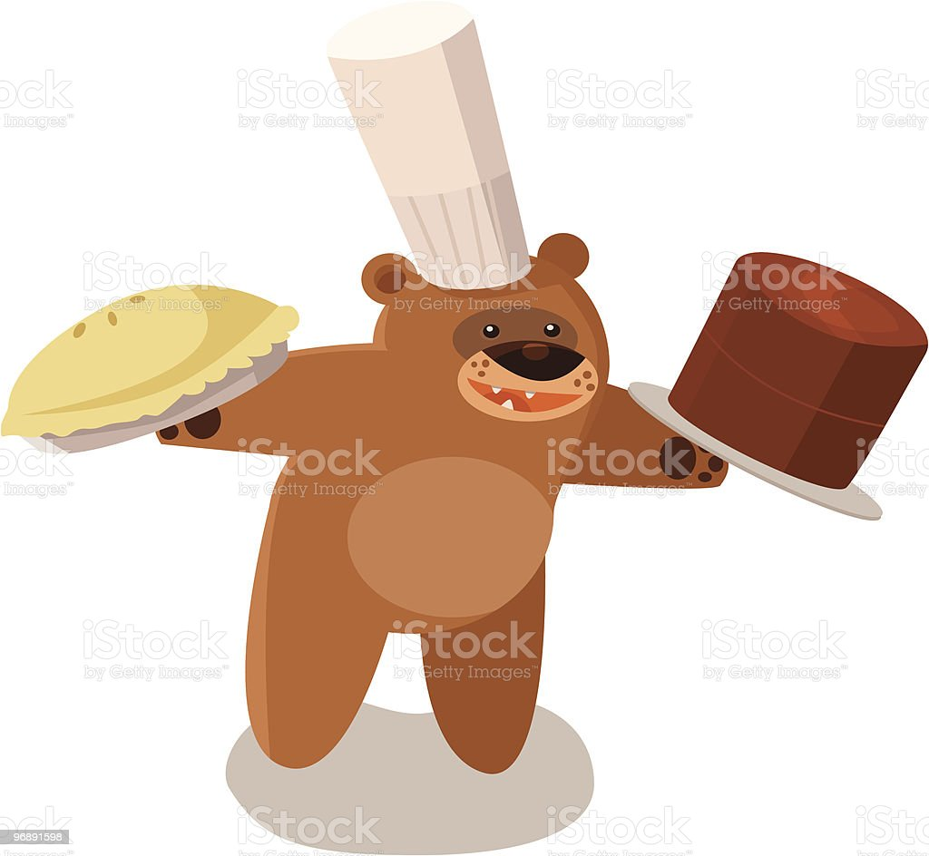 Baker Bear With Pie and Chocolate Cake vector art illustration