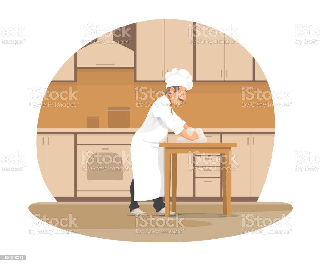 Chef Boulanger Cuisson Du Pain à Licône De Dessin Animé De