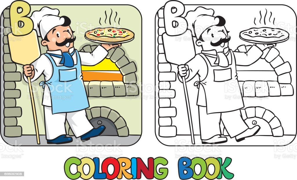Alphabet Cafe Cooking Food Pizza Baker Coloring Book