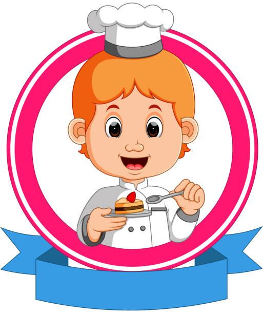 ilustrações, clipart, desenhos animados e ícones de padeiro, segurando uma bandeja com um bolinho - fine dining