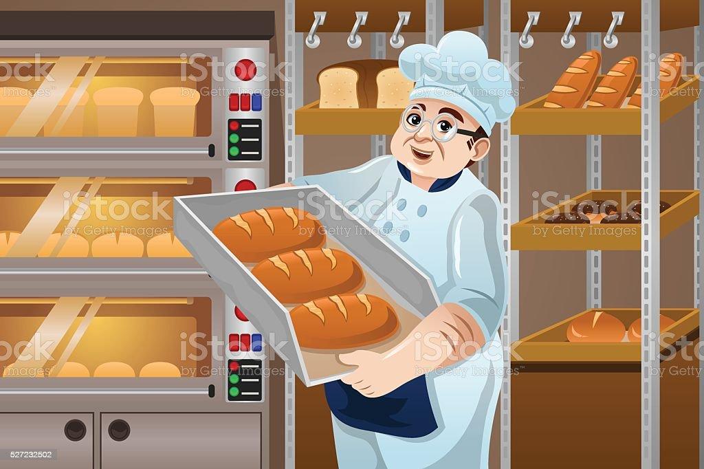 Baker Holding Breads vector art illustration