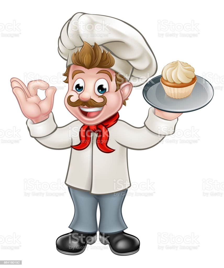 Baker Holding Cake Cartoon Mascot royalty-free baker holding cake cartoon mascot stock vector art & more images of baked pastry item
