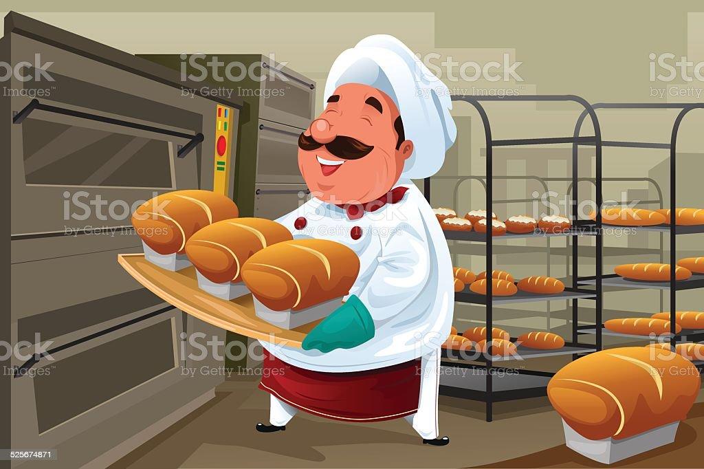 Baker in the kitchen vector art illustration