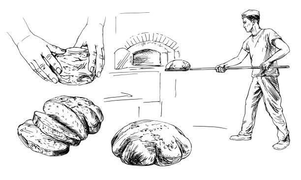 illustrations, cliparts, dessins animés et icônes de baker introduisant du pain dans un four classique. illustration dessinée à la main. - boulanger