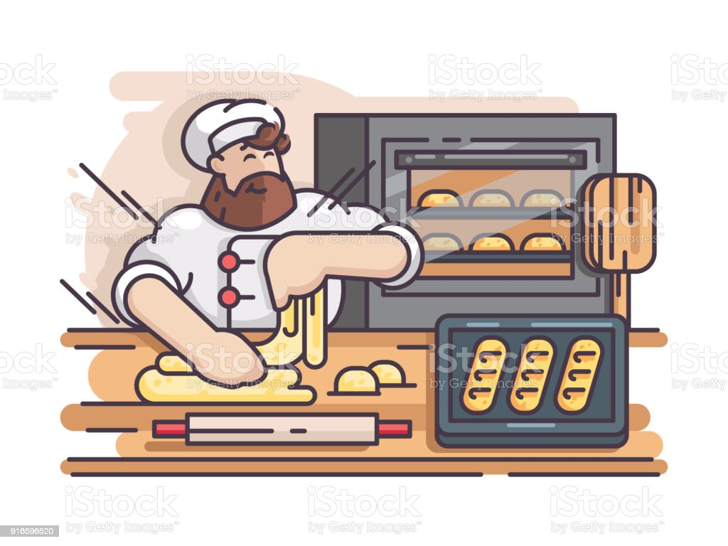 Baker kneads and cooking dough vector art illustration