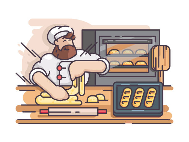 illustrazioni stock, clip art, cartoni animati e icone di tendenza di baker kneads and cooking dough - impastare