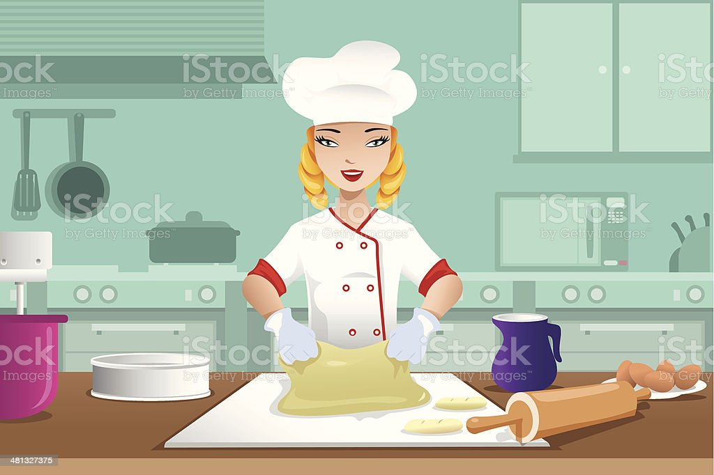 Baker making dough vector art illustration