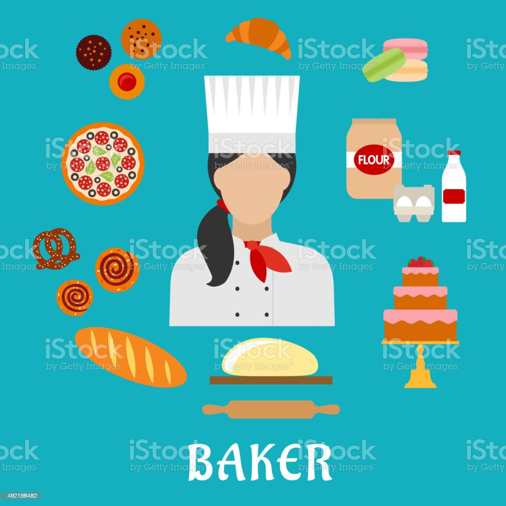 Baker profession and pastries flat icons vector art illustration