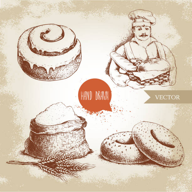 baker with baker basket of fresh bread, sesame bagels, iced sweet cinnamon bun and sack with whole flour with wheat bunch. - cinnamon roll stock illustrations, clip art, cartoons, & icons