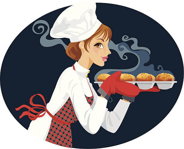 baker with fresh cupcakes - busy restaurant kitchen stock illustrations