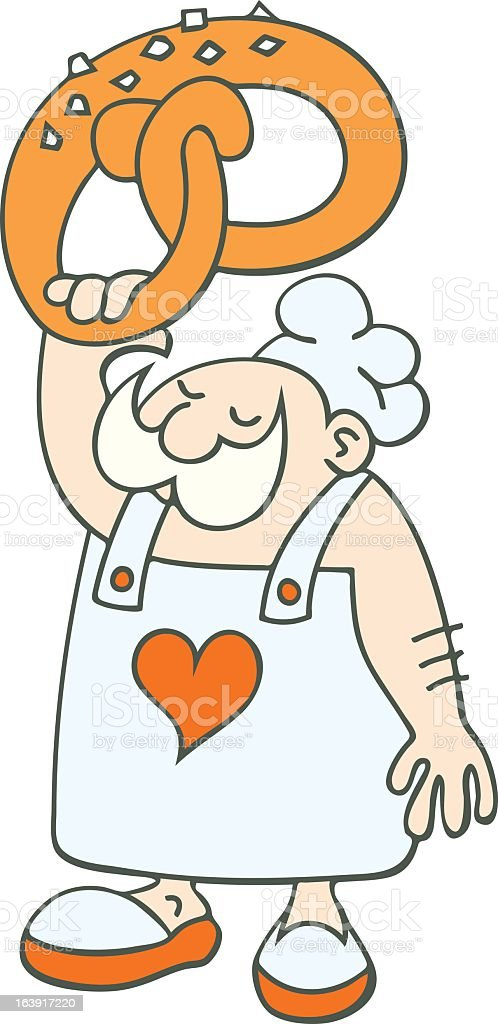 Baker with giant pretzel royalty-free stock vector art