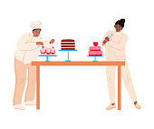 istock Bakers in aprons decorating cakes with fresh strawberries and cream vector illustration 1219857923