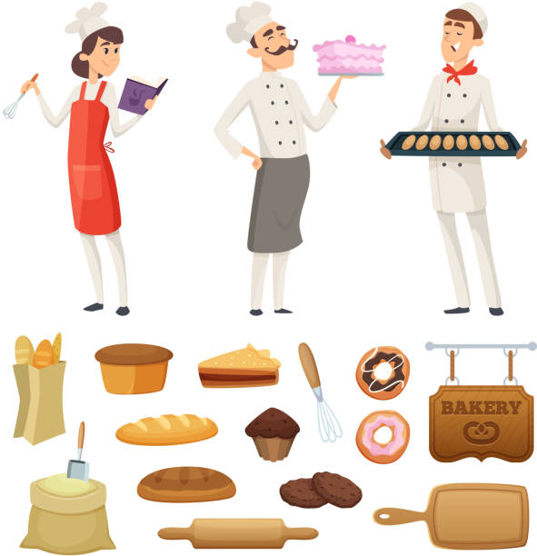 Bakers male and female at work. Characters in different poses Bakers male and female at work. Characters in different poses. Cook baker profession, pastry and baguette bread, vector illustration apron isolated stock illustrations