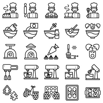 Bakery and baking related line icon set