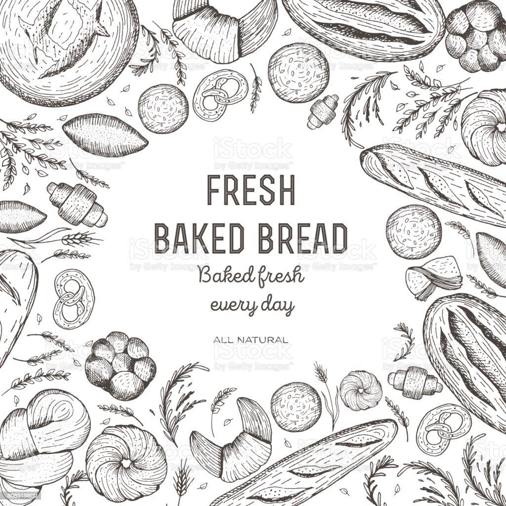 Trame de la boulangerie et du pain. Modèle de conception de pain. Illustration vectorielle. Éléments de conception de boulangerie. - Illustration vectorielle