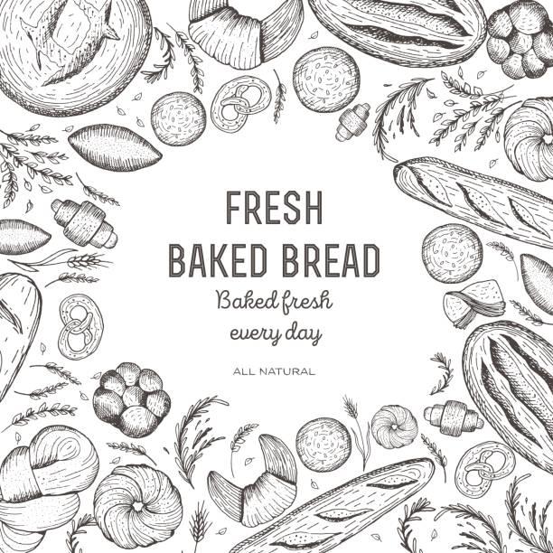 Bakery and bread frame. Bread design template. Vector illustration. Bakery design elements. vector art illustration