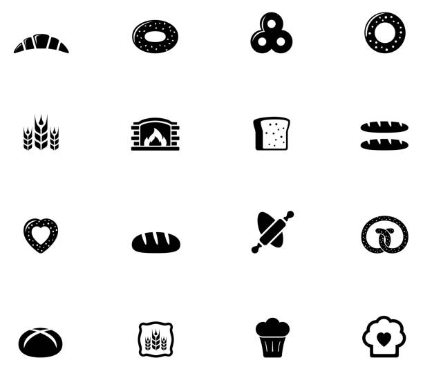 bakery and bread icons set isolated objects with bakery and bread icons set bread silhouettes stock illustrations