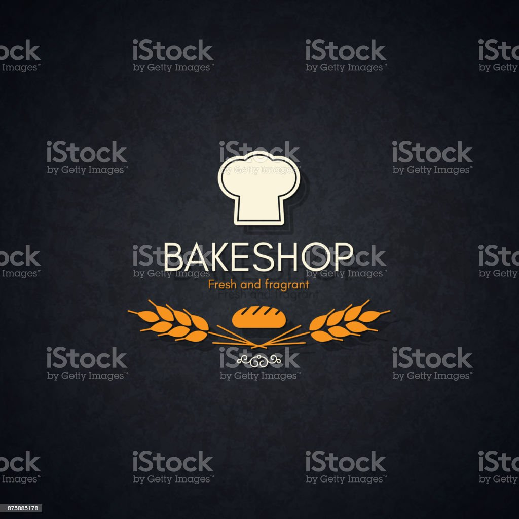 Bakery and bread shop logo vector art illustration