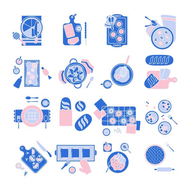 bäckerei und frühstück symbol festlegen, essen flach icon design, bäckerei-symbol - tortenständer stock-grafiken, -clipart, -cartoons und -symbole