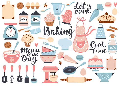 Bakery and cooking set, kitchen utensils icons. Perfect for scrapbooking, poster design, sticker kit. Hand drawn vector illustration.