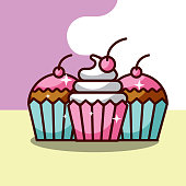 three sweets cupcakes dessert pastry vector illustration