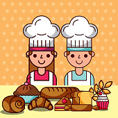 chef girl and boy cartoon with bakery dessert food vector illustration