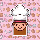 cute face chef girl with uniform hat bakery dessert background vector illustration