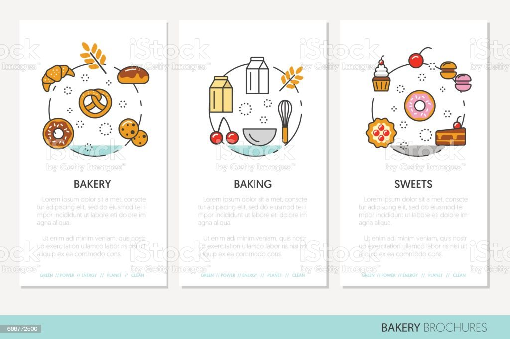 Bakery and Desserts Business Brochure Template bakery and desserts business brochure template - immagini vettoriali stock e altre immagini di baguette royalty-free