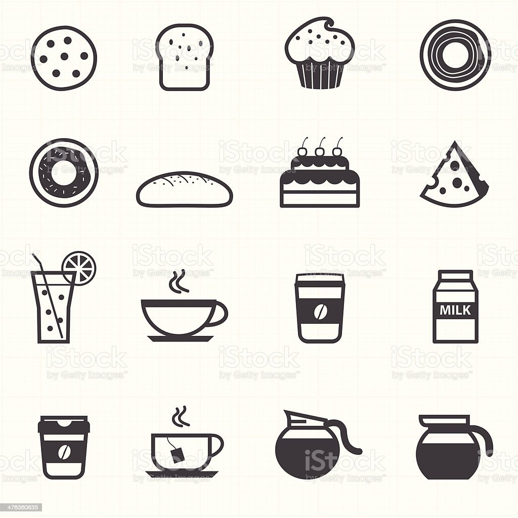 Bakery and drink icons vector art illustration