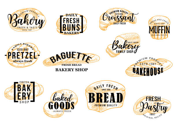 stockillustraties, clipart, cartoons en iconen met bakkerij en patisserie brood vector schets belettering - bakery