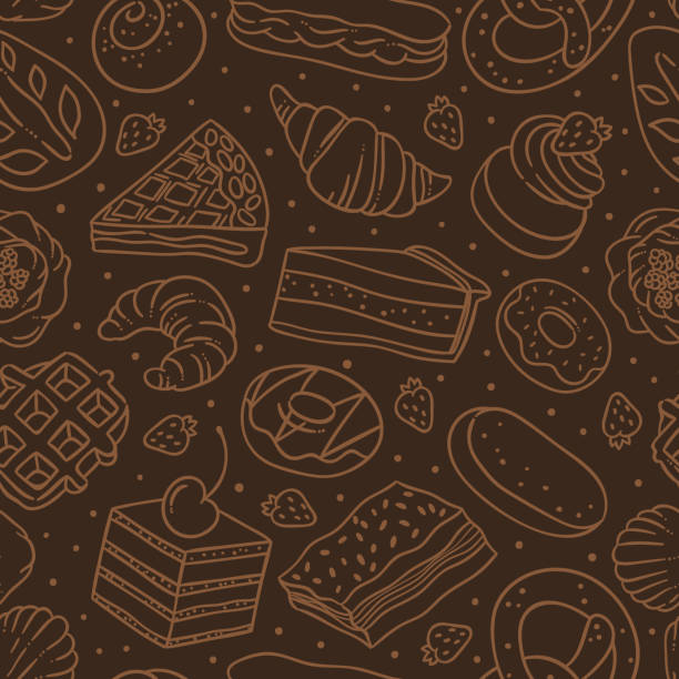 Bakery and pastry dark seamless pattern. Vector background with sweet food and desserts for cafe decoration Bakery and pastry dark seamless pattern. Vector background with sweet food and desserts for cafe decoration pudding stock illustrations