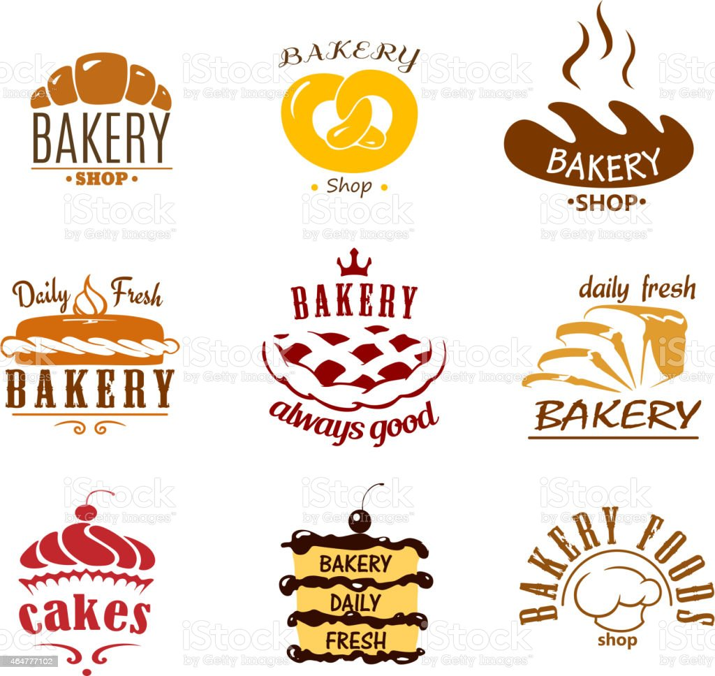 Bakery and pastry emblems or labels vector art illustration