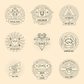Bakery and pastry hipster vintage logo set. Croissant and bread, shop badge and tasty baguette, vector illustration
