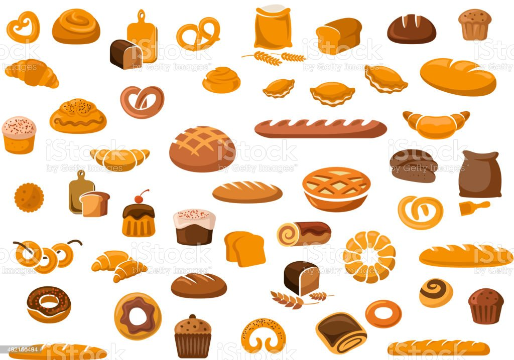 Bakery and pastry products icons vector art illustration