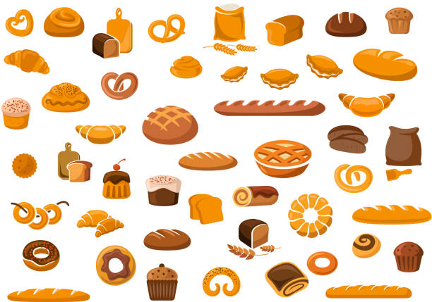 Bakery and pastry products icons Bakery and pastry products icons set with various sorts of bread, sweet buns, cupcakes, dough and cakes for bakery shop or food design pastry dough stock illustrations
