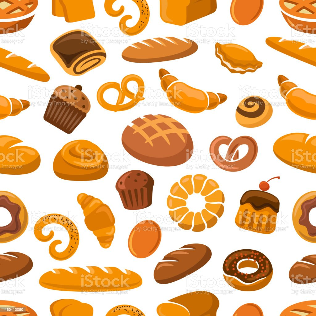 Bakery and pastry seamless pattern vector art illustration