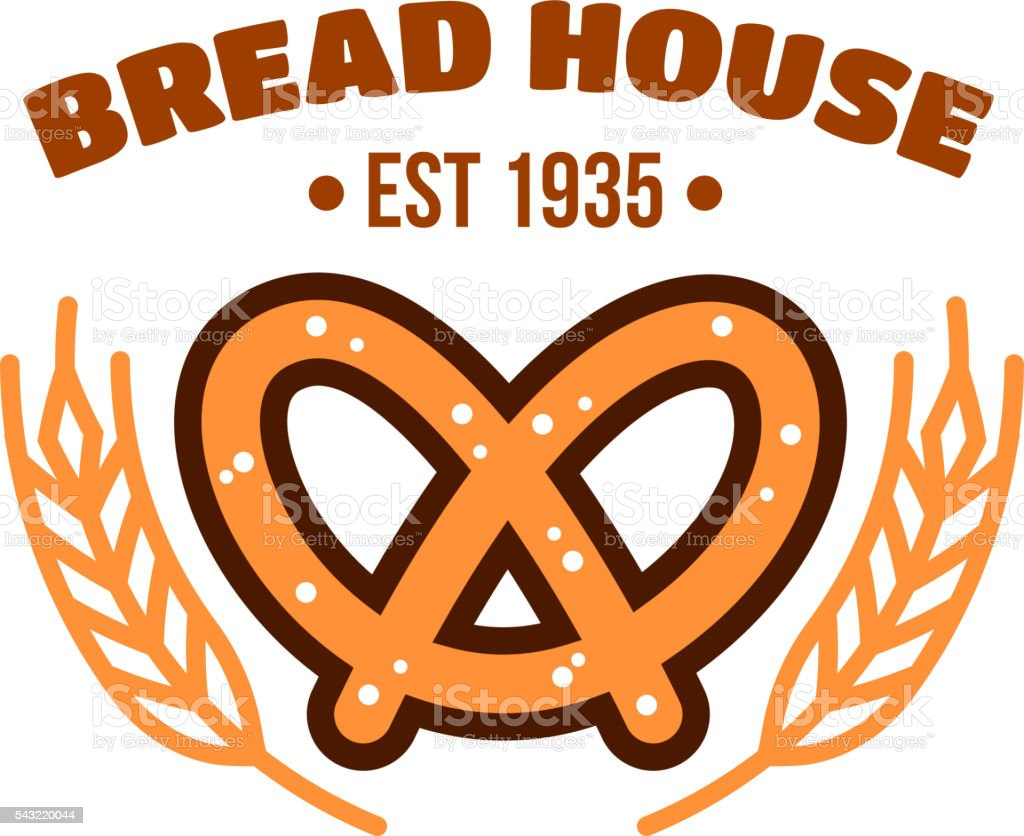 Bakery and pastry shop badge with bavarian pretzel vector art illustration
