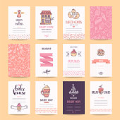 Bakery and pastry shop business cards, cafe poster, restaurant menu, food flyers. Artistic templates collection with hand drawn design elements, lettering, bakehouse logo, cake, pancake icons, sweets pattern. Isolated vector set.