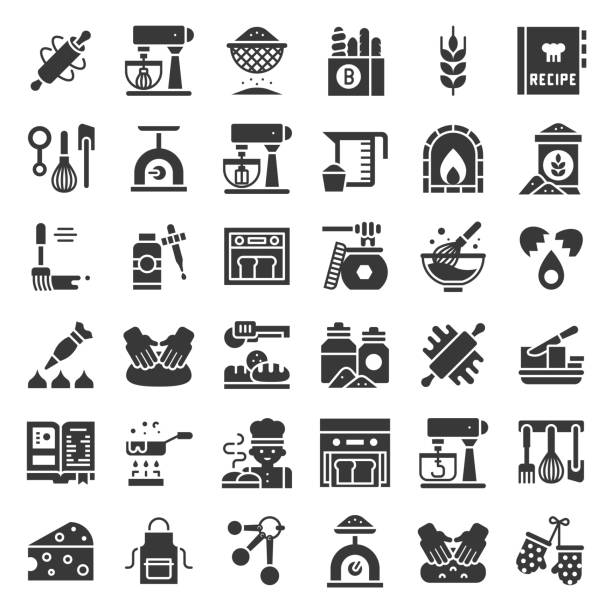 빵집 및 과자가 게 관련 아이콘 견고한 디자인 - baking stock illustrations