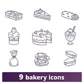 Bakery And Pastry Thin Line Hand Drawn Icons