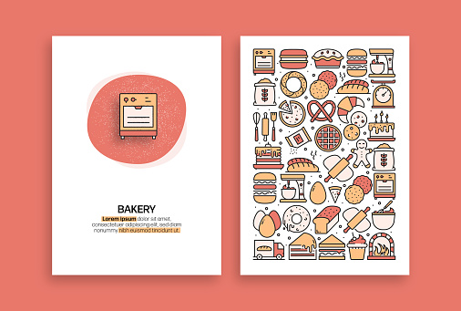 Bakery and Patisserie Related Design. Modern Vector Templates for Brochure, Cover, Flyer and Annual Report.