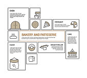 Bakery and Patisserie Related Vector Line Infographic Design