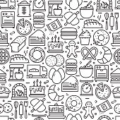 Bakery and Patisserie Seamless Pattern and Background with Line Icons. Editable Stroke