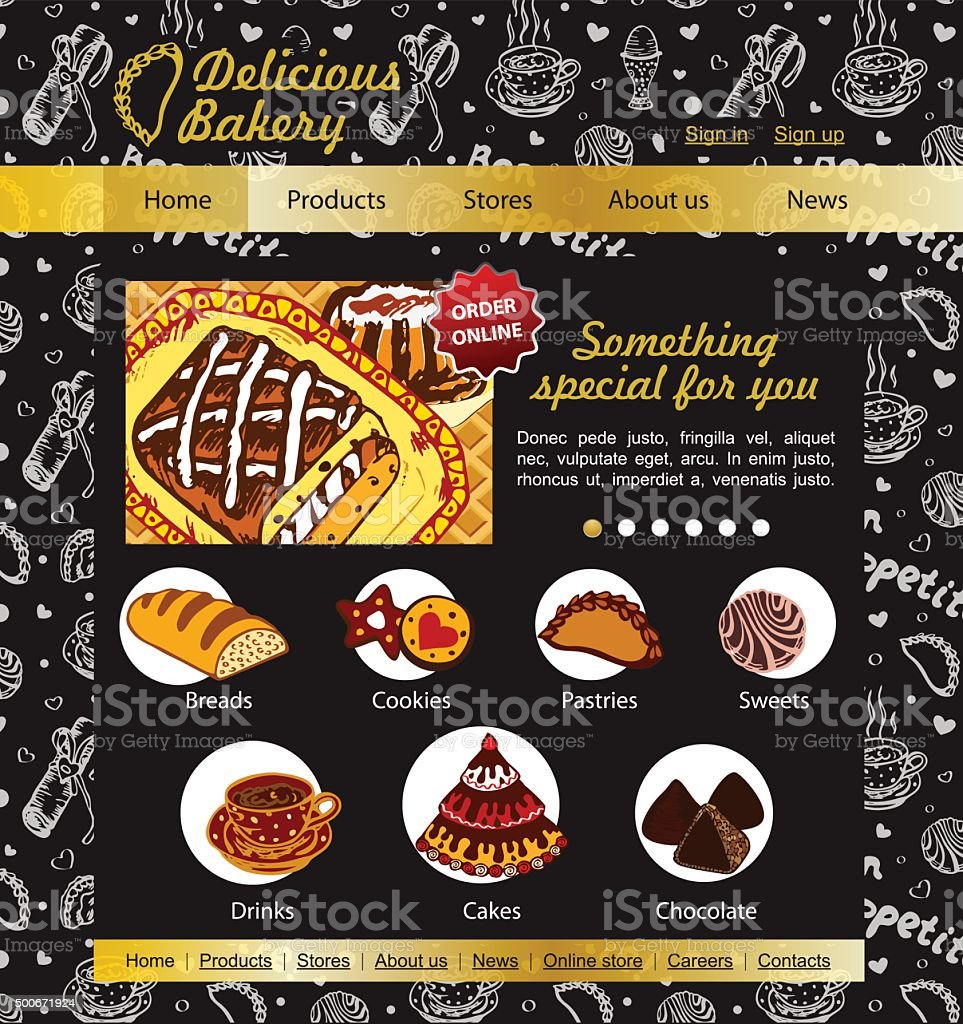 Bakery And Patisserie Website Template On The Blackboard Stock ...