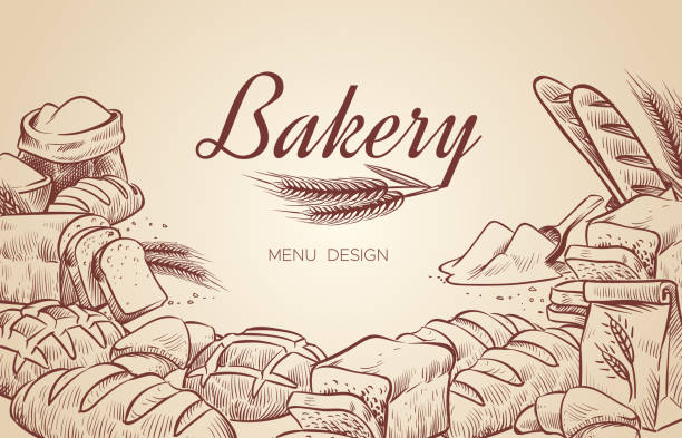 Bakery background. Hand drawn cooking bread bakery bagel breads pastry bake baking culinary vector menu design Bakery background. Hand drawn cooking bread bakery bagel breads pastry bake baking culinary vector menu design poster bread drawings stock illustrations