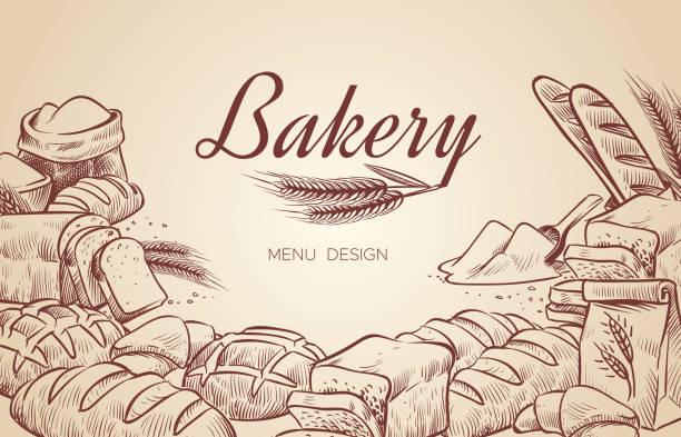 illustrations, cliparts, dessins animés et icônes de fond de boulangerie. à la main dessiné cuisson pain boulangerie bagel pains pâtisserie cuire cuisson cuisine vecteur menu design - boulanger