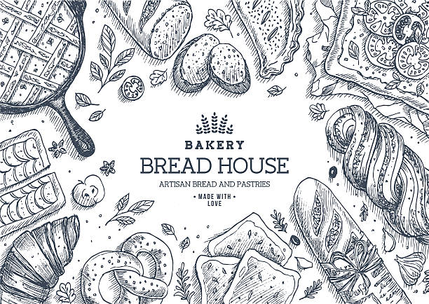 Bakery background. Linear graphic. Bread and pastry collection. Bread house. EPS 8 bread backgrounds stock illustrations