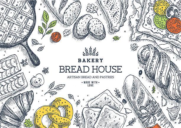 ilustraciones, imágenes clip art, dibujos animados e iconos de stock de panadería fondo. lineal gráfico. de pan y pastelería. pan asamblea. - comida casera